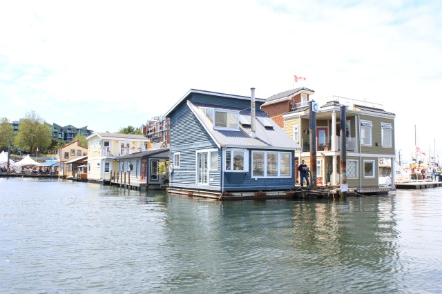Floating homes on Vancouver Island in the city of Victoria