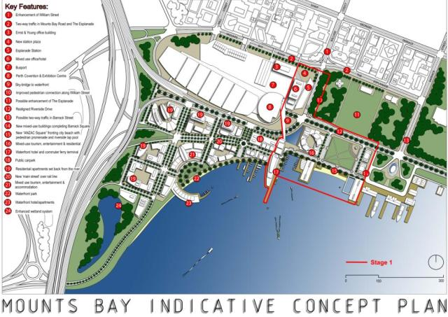 Alternative plan for the Perth Foreshore saves space