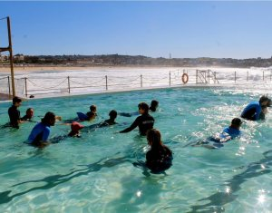 Swimming lessons in the Bondi Iceberges pool, Sydney, NSW